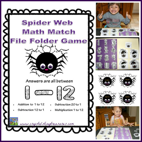 Spider Web Math Match File Folder Games for K-2 by Crystal's Tiny Treasures