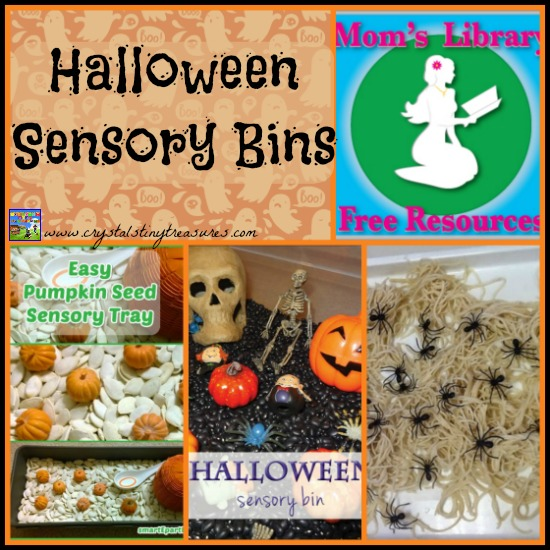 Halloween Sensory Bins on Mom's Library with Crystal's Tiny Treasures