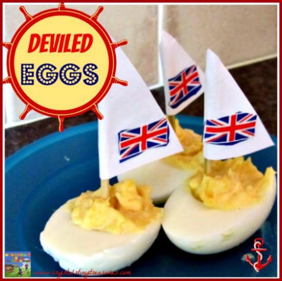 Devilled Egg sailboats, egg recipes, summer snacks, photo