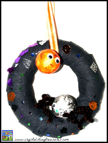 Kids homemade Halloween wreath by Crystal's Tiny Treasures