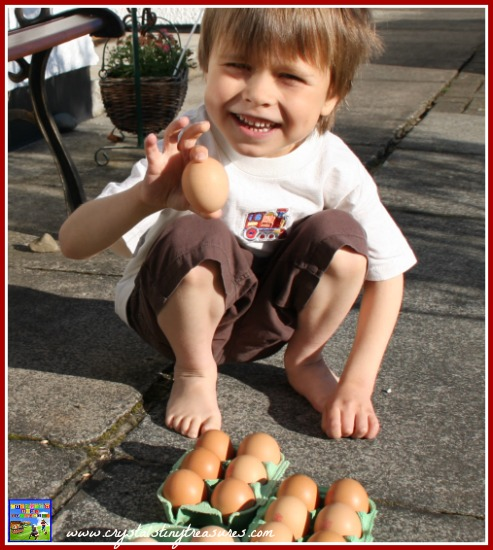 Lining up eggs, egg experiments for kids, kitchen science, photo