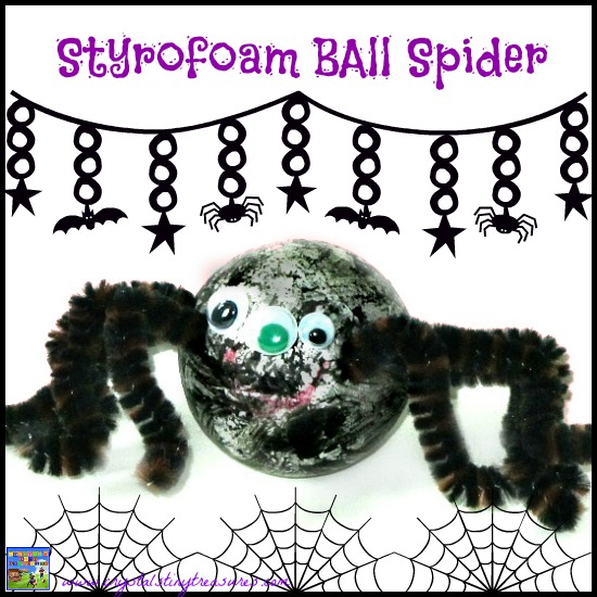 Styrofoam ball spider craft for Halloween