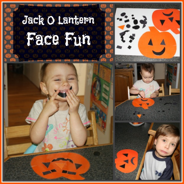 Jack O Lantern Face Fun for toddlers and preschoolers