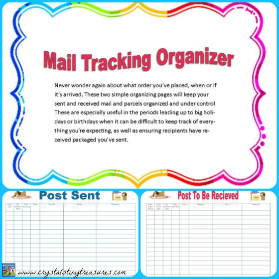 Mail Tracking Organizer by Castle View Academy