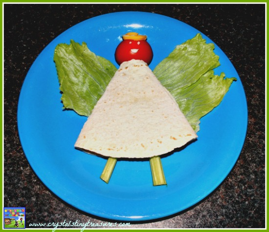 Angel bento box lunch using a tortilla wrap, Christmas party food, Christmas party food for kids, Christmas bento, healthy Christmas lunch ideas