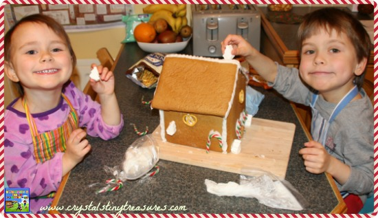 Decorating a Shelter gingerbread house