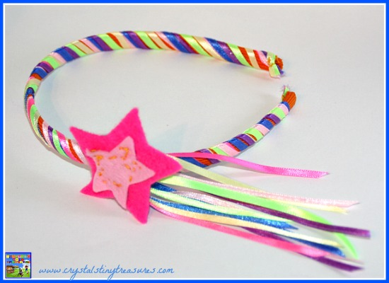 Rainbow Hair band with a star and tail, Rainbow crafts for kids, Ribbon crafts, diy hair bands