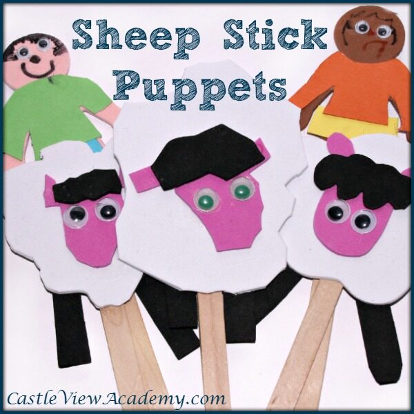 Foam Sheep Stick Puppets by Castle View Academy