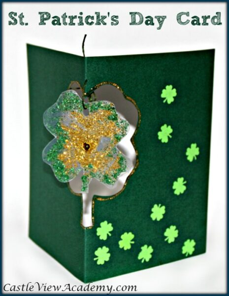 St. Patrick's Day Card with Shamrock Suncatche</a srcset=