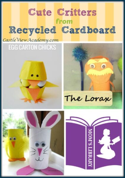 Cute critters made from recycled cardboard are this week's feature on Mom's Library with Castle View Academy