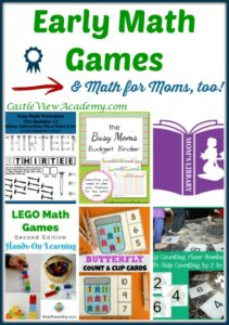 Early math games for kids (& math for Moms too) on Mom's Library with Castle View Academy