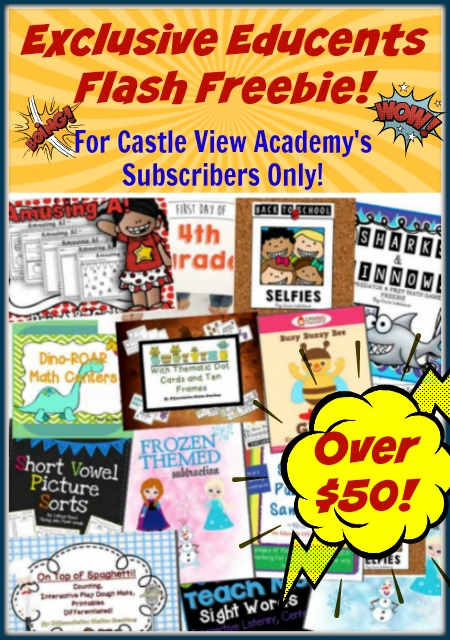 Flash Freebie From Educents - Exclusive only to Castle View Academy subscribers! Don't delay, get your pack now before the time is up!