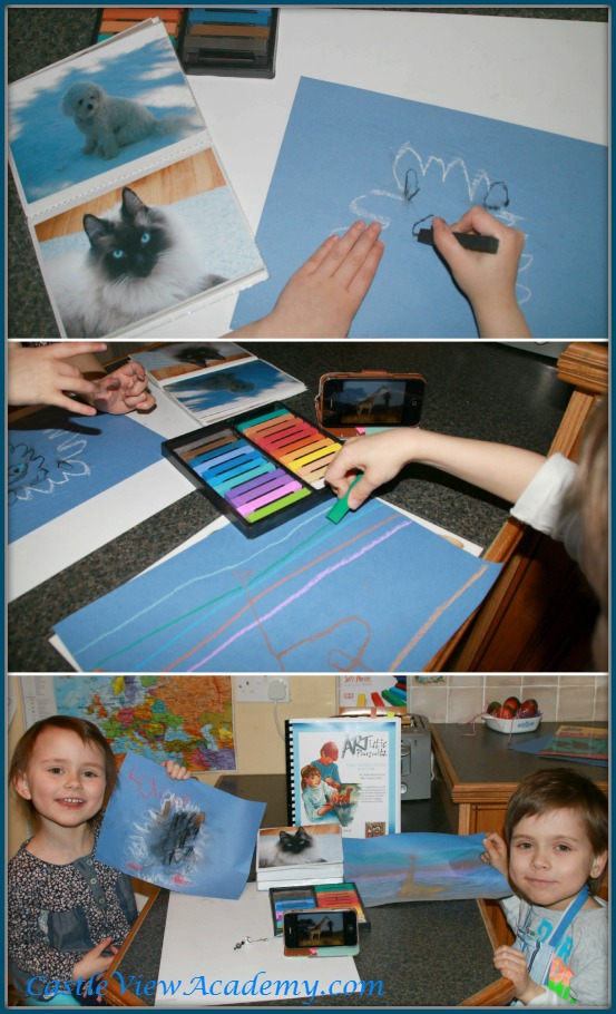 Using chalk pastels to draw animals for art education