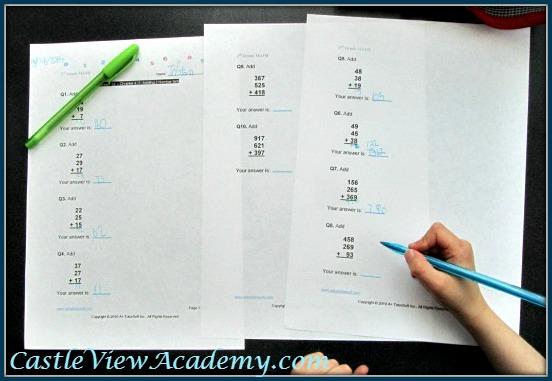 A+ Tutorsoft family package math worksheet for grade 2