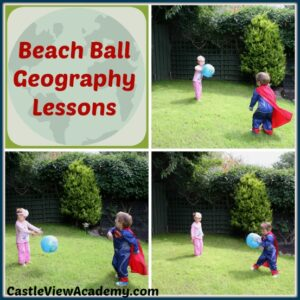 Beach Ball Geography Lessons for preschoolers by CastleViewAcademy.com