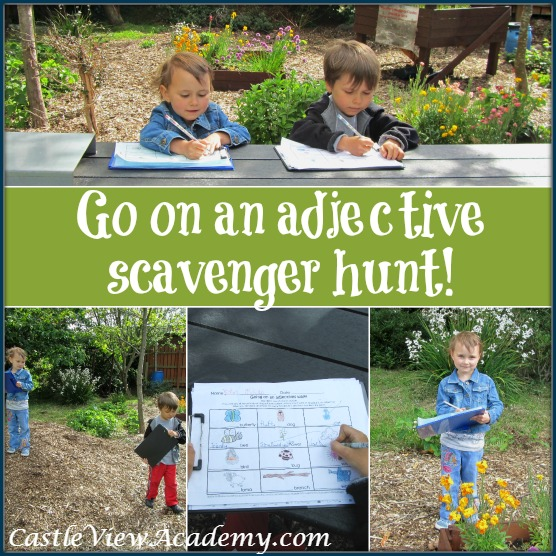 Go on an outdoor adjective scavenger hunt this summer!