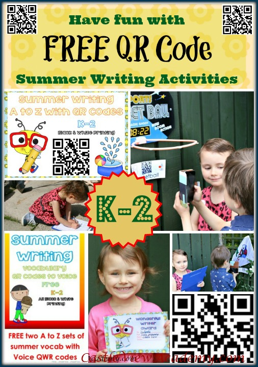 Have fun in the sun with Free QR Code summer writing activities for K-2