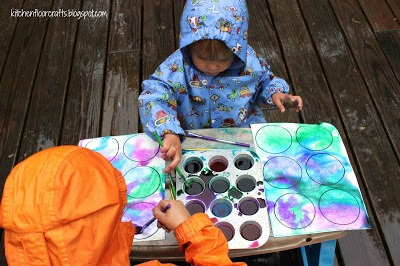 Painting in the rain for kids