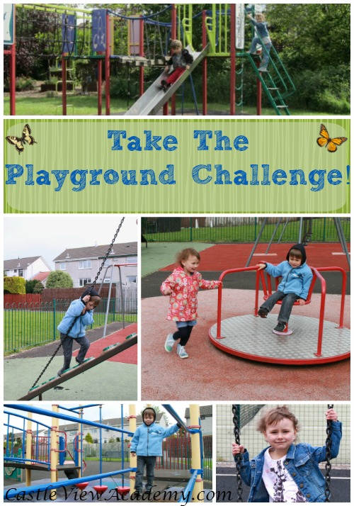 Take The Playground Challenge With Castle View Academy.  Playgrounds are great for both the physical and mental health of children. Get out and have some fun!
