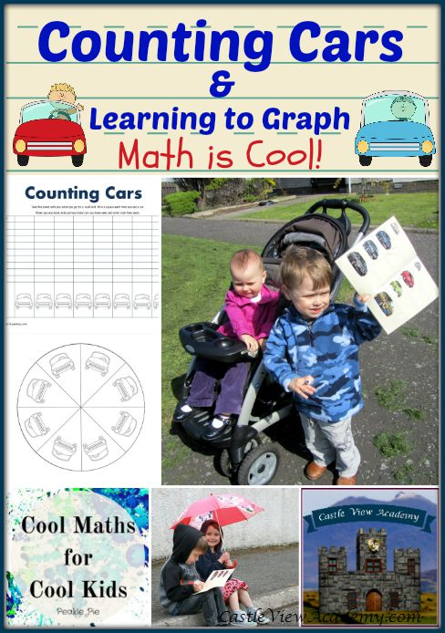 Counting Cars and Learning to Graph with Castle View Academy. Math is Cool! K-2 Math lesson in real life.