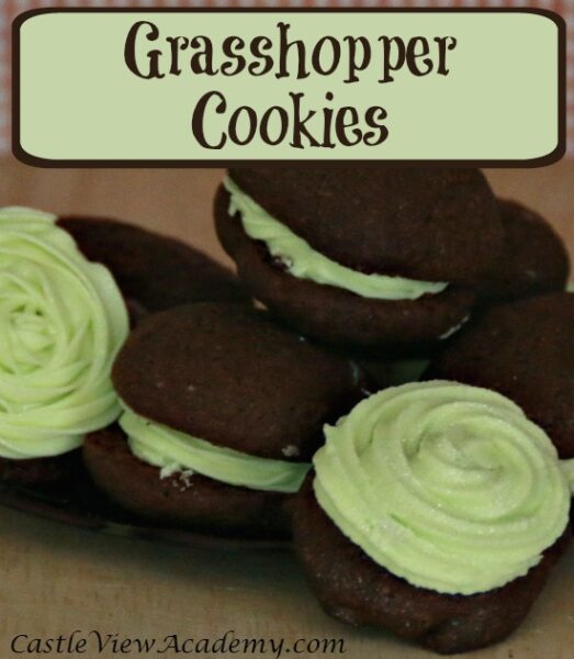 Grasshopper cookies. A delicious treat all year round of chocolate and mint.