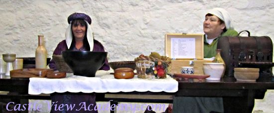 Learning about meals in the Middle Ages at Carrickfergus Castle Bruce Festival
