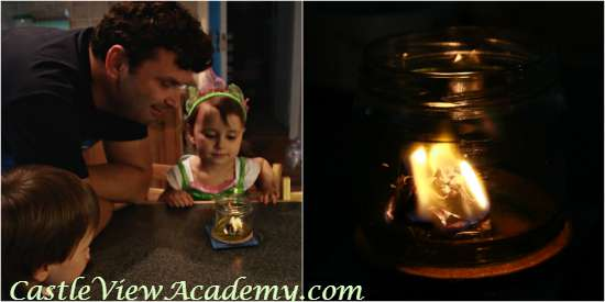 Making an oil lamp at home is easy and a great homeschool science project