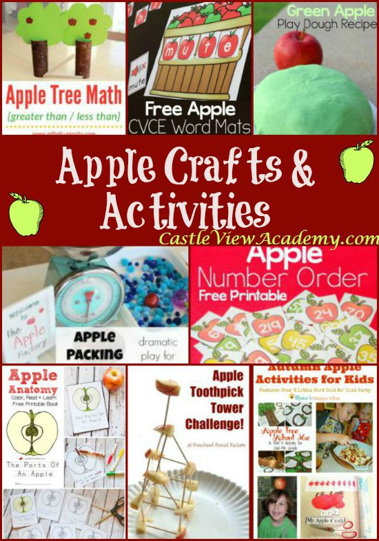 11 Apple Crafts and Activities featured this week on Mom's Library with Castle View Academy