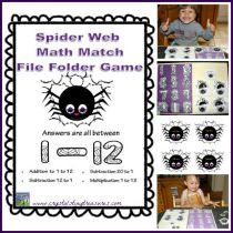 Spider-Web-Math-Match-File-Folder-Game