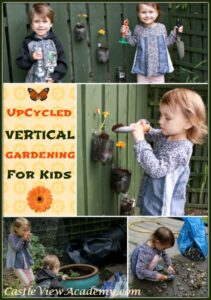 Upcycled Vertical Gardening for kids is where it's at! Turn those plastic bottles into beautiful plant pots for the fence!