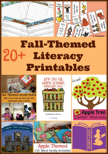 20+ Fall-themed literacy printables are being featured this week on Mom's Library with Castle View Academy