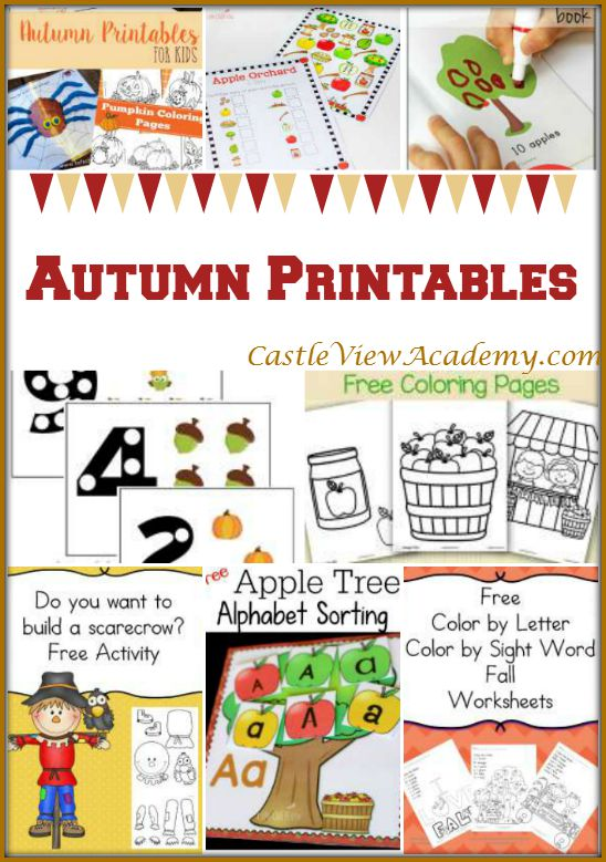 Autumn Printables on Mom's Library with Castle View Academy. Reading, Writing, Arithmetic, and more!