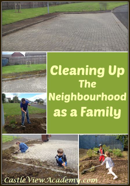 Cleaning up the Neighbourhood as a family to make life more cheerful for the residents. A great way to feel a part of the community for kids!
