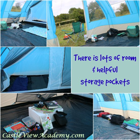 Our camping experience was made comfortable with a spacious tent that included storage pockets