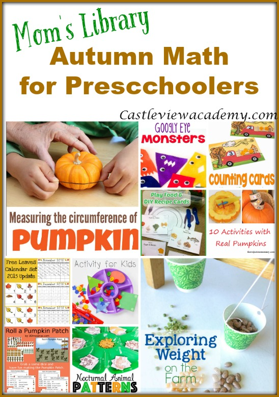 Autumn Math for Preschoolers on Mom's Library with CastleViewAcademy.com