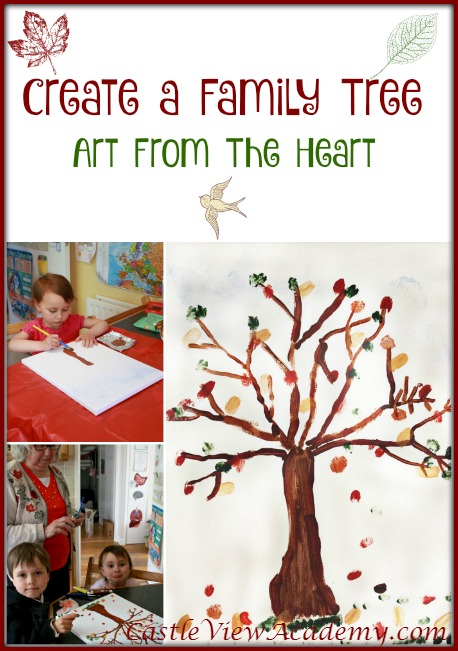 Create a family tree, art from the heart, fingerprint fall tree by CastleViewAcademy.com