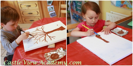 Creating a work of art, children's art, fall art for kids