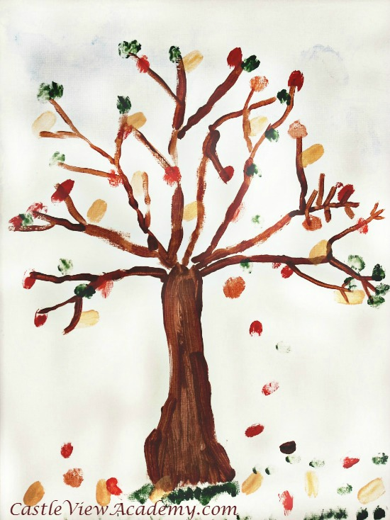 Make a piece of art from the heart with a fingerprint family tree for fall