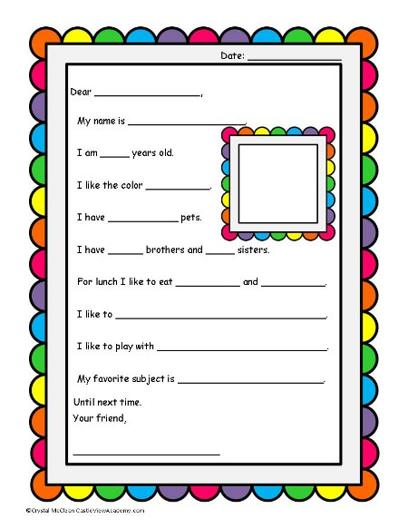 Pen Pal Template For Kids cover