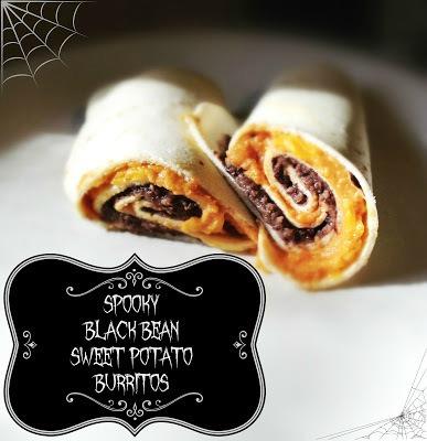 spooky black bean sweet potato burrito