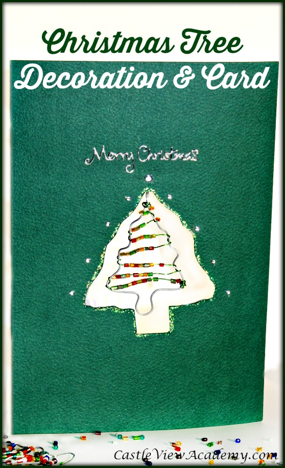A pretty Christmas tree ornament turned into a card that will bring cheer every year by CastleViewAcademy.com