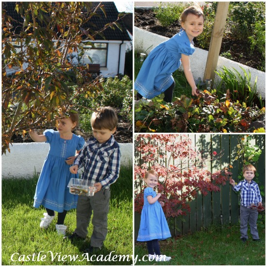 Collecting leaves for a fall craft for CastleViewAcademy.com
