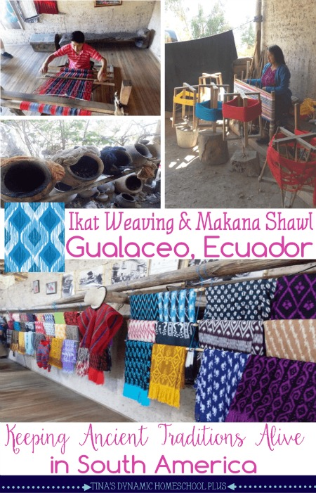 Ikat-weaving-and-Makana-shawl-in-Gualaceo-Ecuador.-The-ancient-art-of-tying-and-natural-dying-material-to-create-the-ikat-patte