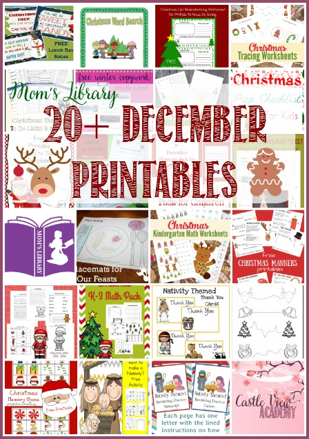 20+ December Printables on Mom's Library with Castle View Academy