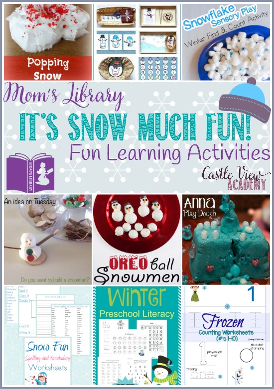 It's Snow Much Fun! Fun snow-themed learning activities on Mom's Library at Castle View Academy