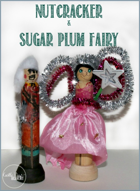 Kid-made nutcracker and sugar plum fairy clothes peg doll craft