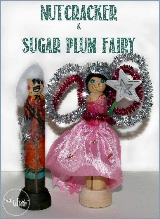 Kid-made nutcracker and sugar plum fairy clothes peg doll craft