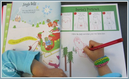 Learning to draw Santa with Christmas 4000 Stickers, a Christmas activity book by Parragon
