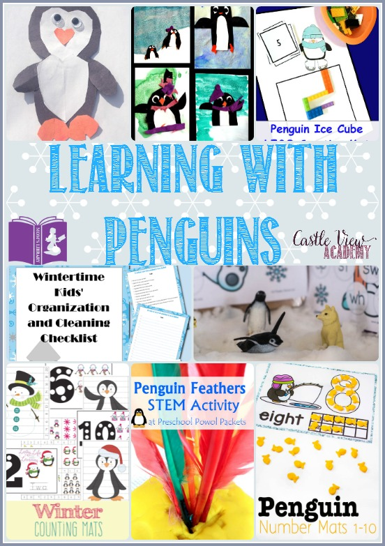 Learning with penguins with Mom's Library at Castle View Academy. Math, art, sensory, STEM, and more.