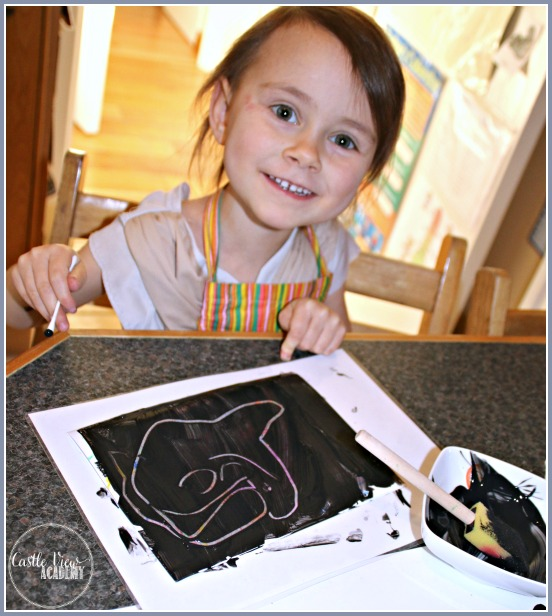 Revealing what's underneath the paint with scratch art cards by Castle View Academy